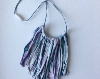 fringe necklace , fringe necklace , hand dyed fringe necklace ,