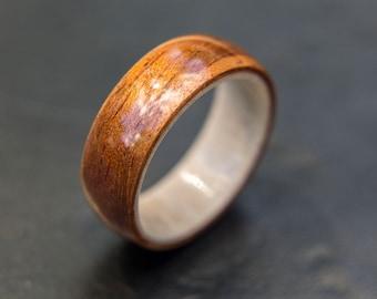 antler and koa wedding band wood ring wooden wedding band unisex wooden ring - Koa Wood Wedding Rings