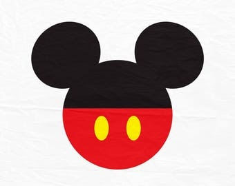 Mickey Mouse SVG, Mickey Mouse Ears SVG, Mickey mouse with red bottom with buttons