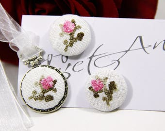 Set necklace with earrings, Victorian embroidery roses, Pink roses, stud earrings