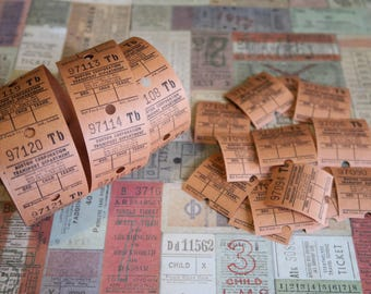30 Vintage Bus Tickets Orange Brown Burton Corporation