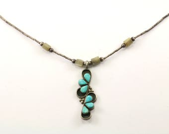 Vintage Navajo Turquoise Pendant Necklace 925 Sterling Silver NC 670