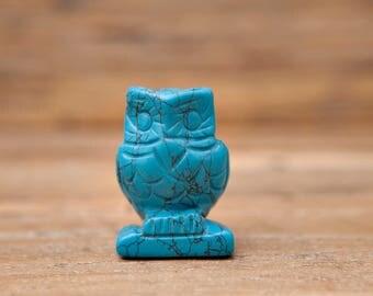 Crystal Owls, Oplite, Blue Howlite