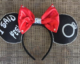 Engagement Mickey Mouse Ears, I said yes Minnie Mouse Ears, Bride to be Mickey Ears