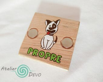 Wooden dishwasher magnet, dog magnet, double side magnet, square magnet, woodburning