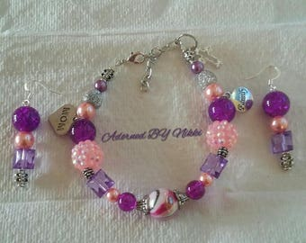 Beaded Pink and Purple Mother's Bracelet and earring set.