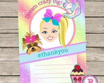 JoJo Siwa Birthday Party Fill In the Blank style Party Thank You Cards Instant Download 5x7 size Bows Puppy Rainbow Unicorn Dream Crazy Big