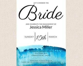 Water Color Bridal Shower Invitation, Digital or Printed Engagement Invitation, Let's Shower The Bride, Blue Water Color, Customize
