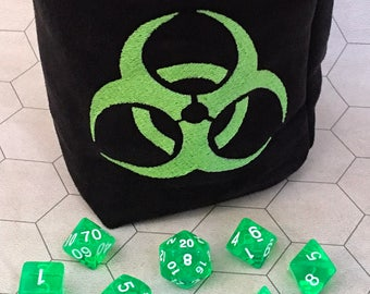 Biohazard Symbol Tabletop Drawstring Gaming Dice Bag Pouch Dungeons And Dragons Dnd Role-playing Board Game Miniatures Polyhedral Dice Rpg