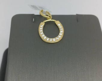 925 Sterling Silver Gold Plated CZ Pendant