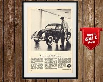 VW Bug Vintage Poster, Volkswagen Bug Print, Volkswagen Beetle Retro Ad, Volkswagen Funny Ad, Vintage Car Print, Retro Car Print, Car Print