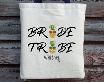 Bachelorette Party Tote, Pineapple Bride Tribe Tote, Personalized Bachelorette Tote, Bride Tribe, Pineapple, Wedding Tote, Bridal Shower Bag