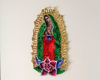 "Our Lady of Guadalupe Sequin Applique La Virgen de Guadalupe en Lentejuela 15""X8"" Virgin of Guadalupe"