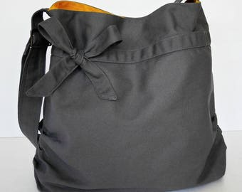 Virine grey shoulder bag, cross body messenger everyday handbag, travel...