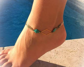 """chain bracelet ankle chain Spike """"turquoise/gold / bronze""""chic and trendy """""""
