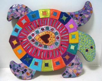 Wild mosaic painting and ceramic turtle 57 X 50 cm