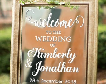 Personalized Welcome To Wedding Decal Sign For Mirror Custom Event Sticker
