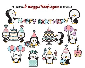 Penguin Birthday Party - Planner Stickers - Fits All Planner Sizes - Erin Condern - Happy Planner - Recollections - Plum Paper Planner/BUJO