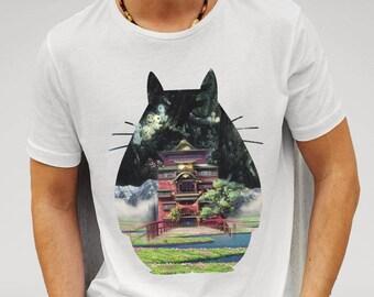 Totoro and Studio Ghibli T-shirt  - White T-shirt- Movie Poster Gift