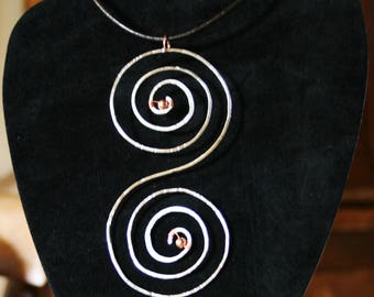 Copper necklace, silver plated copper double spiral pendant, statement necklace,