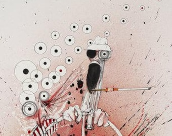 Ralph Steadman Hand Signed Hunter S. Thompson Overdrive Art Print