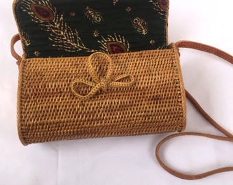 Oval / Cylinder Rattan Bag with Long Strap