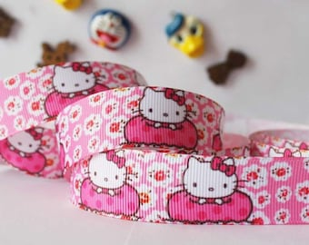 Ribbon wholesale GRAIN pink and white custom cat