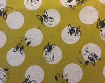 mustard patchwork fabric Japanese pat dogs Studio Choco