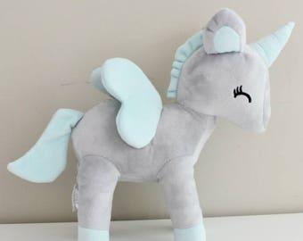 Unicorn plush - size L (Grey)