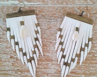 """Earrings with fringe and white shell """"Daughter"""""""