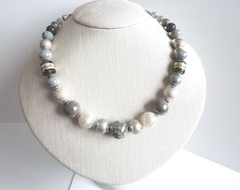 silver painted beaded necklace