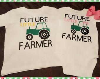 John Deere, Tractor, Farming, Farm, Farm Boy, Farm Girl, Future Farmer, Sibling Set, Choice of Onesies Tees or Both