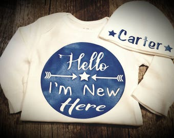 Hello, I'm New Here, Personalized and Monogrammed,  Coming Home Outfit or Baby Shower Gift - Can Be Created For Girl or Boy