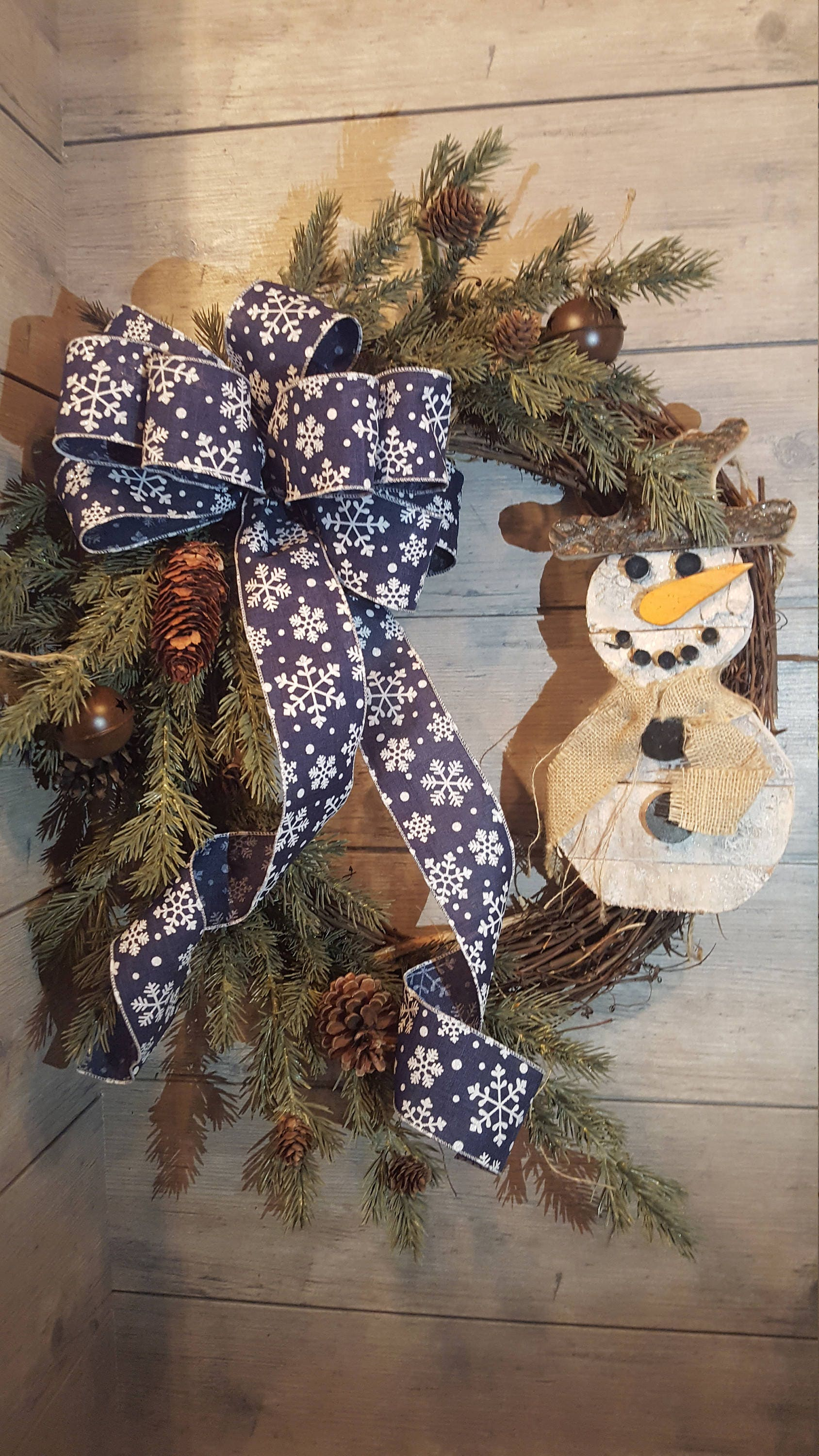 Rustic Christmas Wreath Winter Snowman Navy Blue Bow