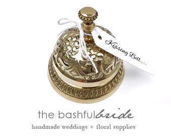 Wedding keepsake, Kissing bell, ring for a kiss, wedding bell, cow bell, reception bell, bride bell, silver wedding bells, wedding table
