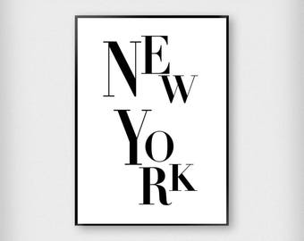 New York Letters Print | City | Black and White | Typography - Fashion - Poster