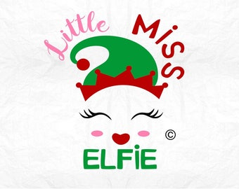 little miss elfie selfie  SVG Clipart Cut Files Silhouette Cameo Svg for Cricut and Vinyl File cutting Digital cuts file DXF Png Pdf Eps