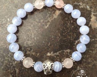 Chalcedony, rose quartz and silver metal elephant head bracelet