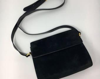 Vintage Black Suede Ferragamo  Handbag
