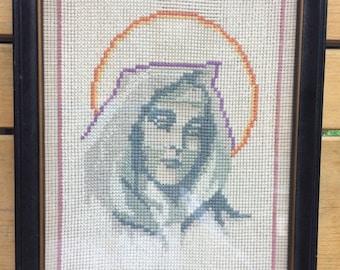 Vintage hand stitched framed needlepoint  of the Virgin Mary. Handcrafted needlepoint. Virgin Mary needlepoint. Religious decor. 1977.