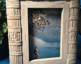 Weaved Rattan Picture Frame. Upcycled  Picture Frame. Painted And Distressed Picture Frame.