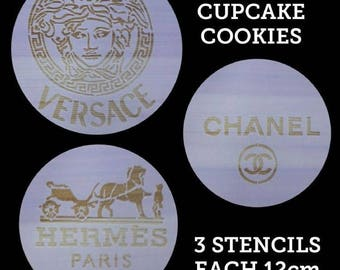 Designer Logo 3-piece Stencil Set for Cakes, Cookies, Cupcakes, Candy Apples, Medusa, CC, Birthday Parties, Baby and Bridal Showers