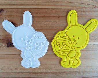 Bunny holding an Easter Egg  Cookie Cutter and Stamp