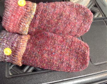 Repurposed heather sweater mittens, cozy, ladies medium