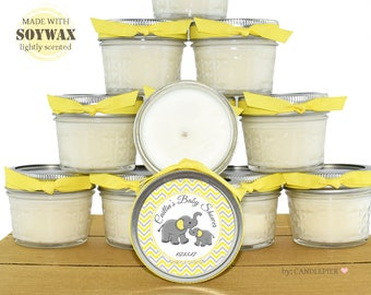 12 ct Yellow and gray elephant baby shower favors, 4 oz personalized soy candles, 1st birthday favors, candle favors