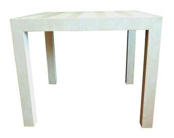 Faux Snakeskin Upholstered Parsons Table
