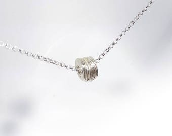 Coil circle Necklace in Solid Sterling 925 Silver (SN002)