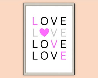 LOVE // Typography Prints // Wall Art // Home Decor