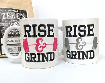 Coffee Mug - Rise and Grind Workout Coffee Mug - Coffee Gift for Athlete - Weight Lifting Coffee Mug - Coffee Gift