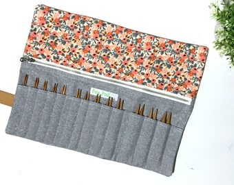 Interchangeable Needle Case/Knitting Needle Case/Organizer: Floral and Metallic Fog
